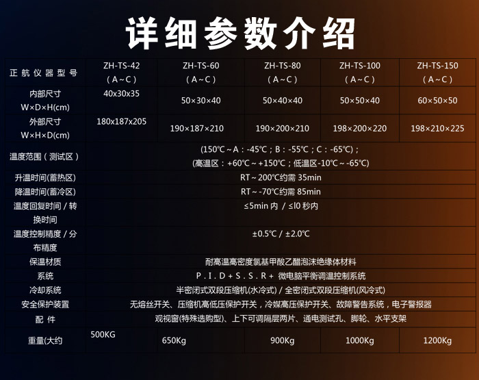 冷热冲击试验箱参数表介绍